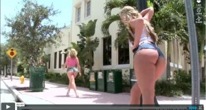 Two big booty whores Sara Jay & Phoenix Marie walkin in the street