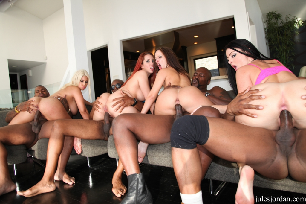 Interracial gangbang orgy found