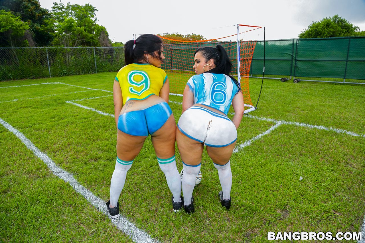 Two big huge asses outside